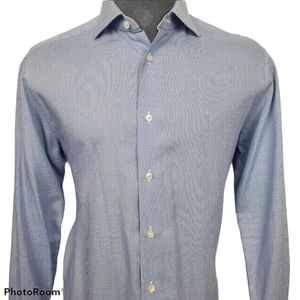 Ermenegildo Zegna Blue Button Dress Shirt Sz 16.5